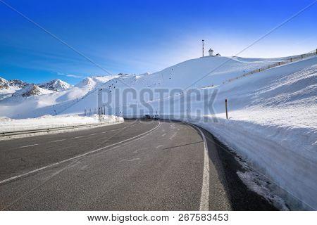 Andorra Grandvalira sector road to Pas de la Casa in Pyrenees mountains poster