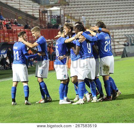 Vicenza, Vi,  Italy - October 15, 2018: Football Match Italy Vs Tunisia Under 21.italian Exultation