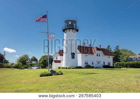 Chatham Lighthouse At Sunny Summer Day In Cape Cod, Massachusetts.