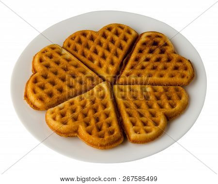 Belgian Waffles On A Plate. Belgian Waffles Isolated On White Background. Tasty Food