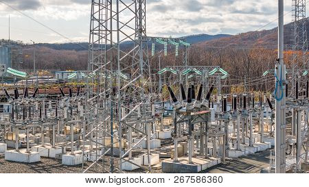 High voltage electric power substation in the open. poster