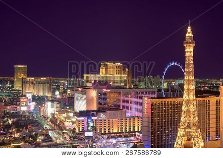 Aerial View Of Las Vegas Strip At Night On July 24, 2018 In Las Vegas, Nevada. Las Vegas Is One Of T