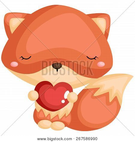 A Cute Fox Holding A Heart While Wearing A Flower Wreath