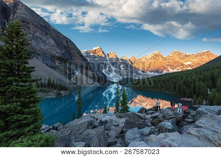 Moraine Lake At Sunrise, Canadian Rockies - Lake Louise, Canada.