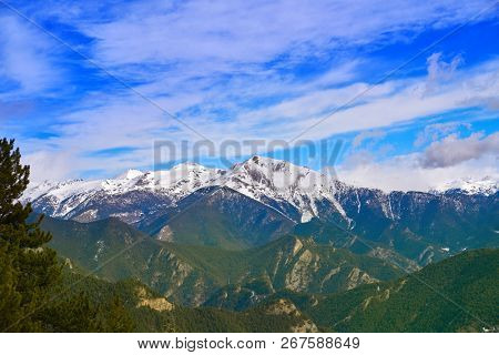 Pal ski resort in Andorra Pyrenees mountains on sunny day poster