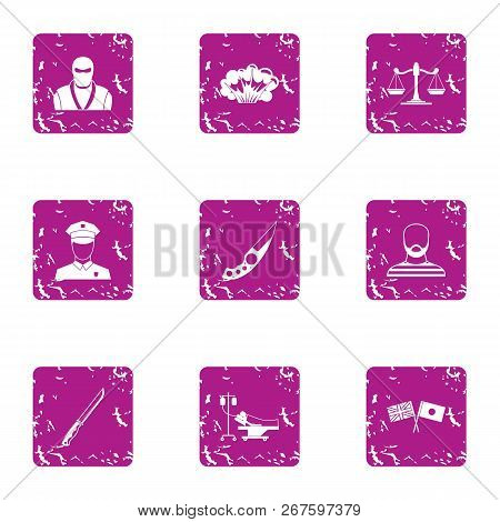 Friendship Of Nations Icons Set. Grunge Set Of 9 Friendship Of Nations Vector Icons For Web Isolated