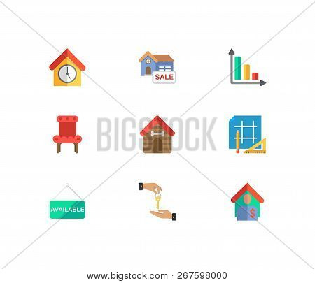 Building Icons Set. House For Sale And Building Icons With Tenant, Animal House And House Available.