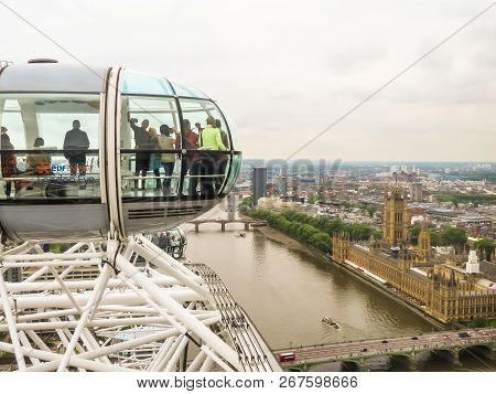 London, United Kingdom - June 10, 2013: London Eye On Thames River Embankment. Aerial View Of The Th