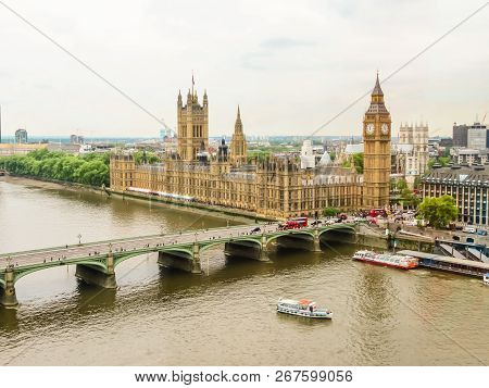 London, United Kingdom - June 10, 2013: Aerial View Of The Thames River, Houses Of Parliament, Big B