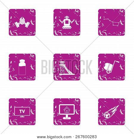 Computerization Icons Set. Grunge Set Of 9 Computerization Vector Icons For Web Isolated On White Ba