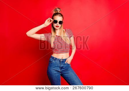 Portrait Of Nice Cool Cocky Lovely Glamorous Charming Attractive Slim Fit Thin Girl With Pigtail Pon