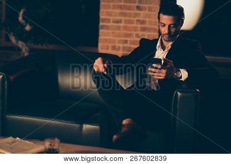 Attractive Handsome Calm Bristle Rich Billionaire People Man In Elegant Tuxedo And Chic Trendy Forma