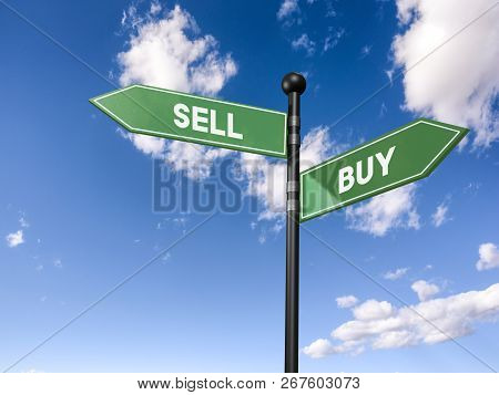 Arrow Road Signs Of Words Sell And Buy On The Blue Sky. 3d Illustration