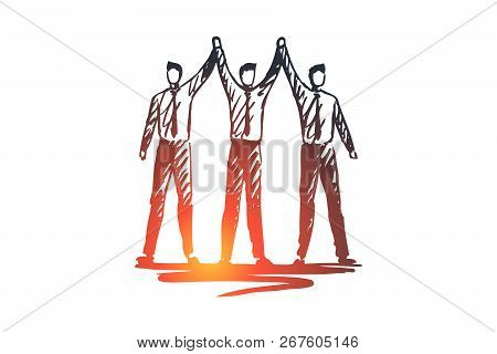 Team, Work, People, Group, Partnership Concept. Hand Drawn Business Partners Work Together Concept S