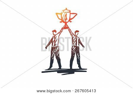 Success, Winner, Leadership, Competition, Trophy Concept. Hand Drawn Businessman With Winners Cup Co
