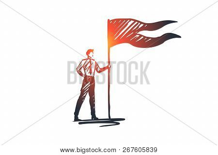 Goals, Flag, Winner, Success, Leader Concept. Hand Drawn Successful Businessman With Winners Flag Co