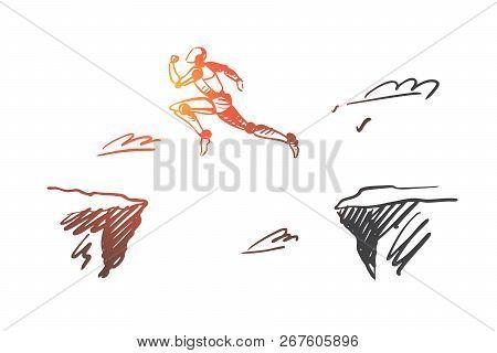 Future, Technology, Progress, Digital, Robot Concept. Hand Drawn Robot Jumping Over The Precipice Co