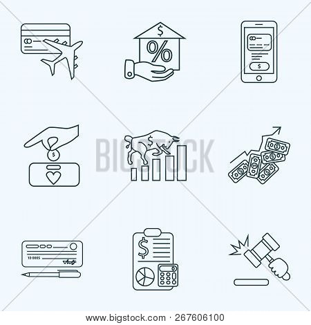 Economy Icons Line Style Set With Auction, Bull Market, Successful Investment And Other Gavel Elemen