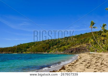 Breezy Morning On Secluded Tropical Island Beach In The South Pacific Ocean