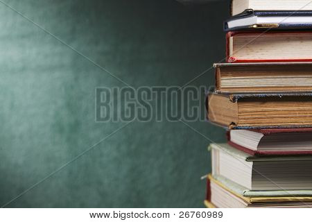 close up on stack of book