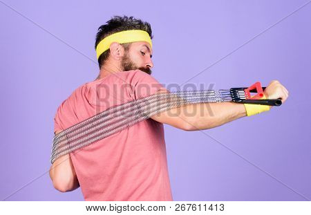 Sportsman Wear Retro Outfit Training Violet Background. Athlete Sport Instructor. Athlete Training W
