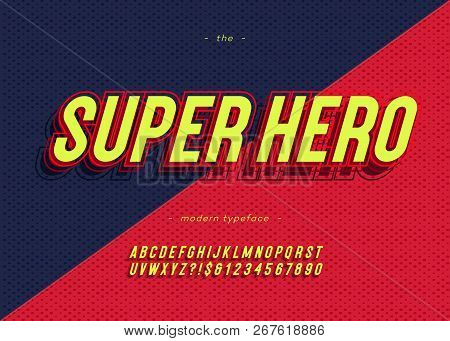 Vector Bold Super Hero Font Trendy Typography Color Style For Decoration, Logo, Party Poster, T Shir