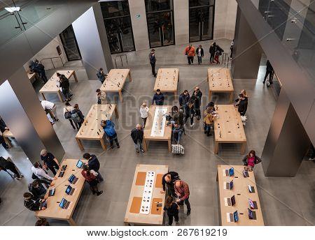 Barcelona, Spain - November 07, 2018: People Inside Apple Store In Barcelona