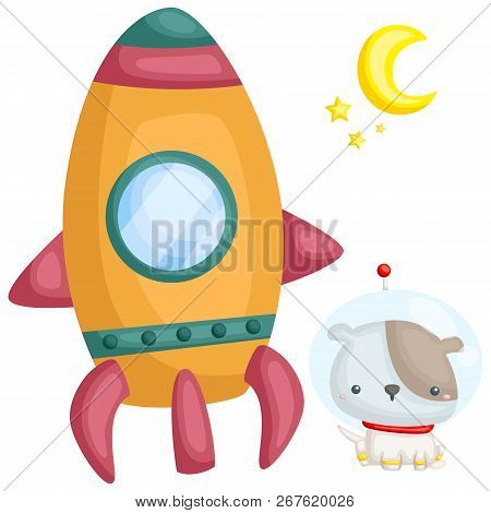 A Vector Of A Dog And A Rocket