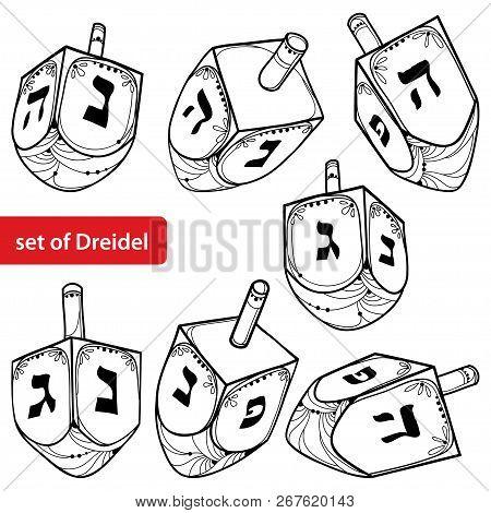 Vector Set With Outline Hanukkah Or Hanuka Dreidel Or Sevivon With Hebrew Alphabet In Black Isolated
