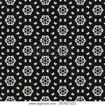 Snowflake Seamless Pattern. Vector Abstract Black And White Geometric Texture With Small Floral Shap