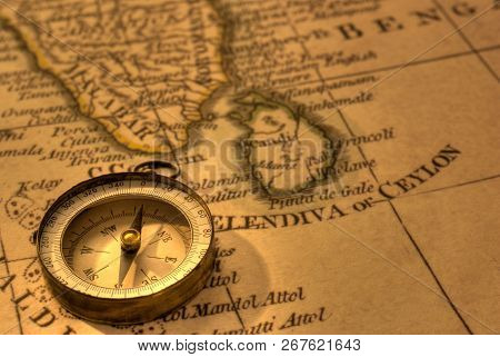 Ancient Compass And Map Of Southern India And Sri Lanka. Map Is From 1799 And Is Out Of Copyright.