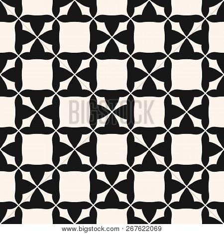 Vector Monochrome Seamless Pattern. Abstract Black And White Geometric Texture With Square Staggered