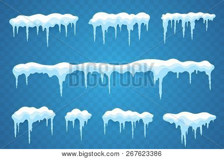 Snow Icicles Set Isolated On Transparent Background. Snowcap Borders. Vector Snowy Elements. Hanging