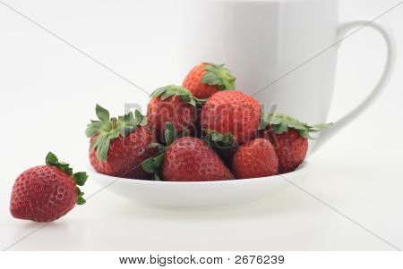 Fresh Strawberry And Cup Of Milk