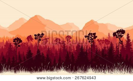 Vertical Horizontal Illustration Of Mountains And Coniferous Forest With Grass (in Red Tone).