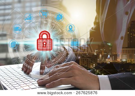 Hand Use Laptop Computer With Padlock Icon Technology, Cyber Security Data Protection Business Techn