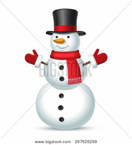 Christmas Snowman With Top Hat, Red Scarf And Mittens Isolated On White Background. Vector Illustrat