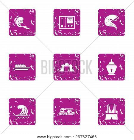 Recovery On Water Icons Set. Grunge Set Of 9 Recovery On Water Vector Icons For Web Isolated On Whit