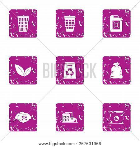 Hazardous Precipitation Icons Set. Grunge Set Of 9 Hazardous Precipitation Vector Icons For Web Isol
