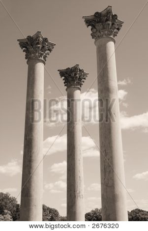 Three Towering Pillars In Sepia