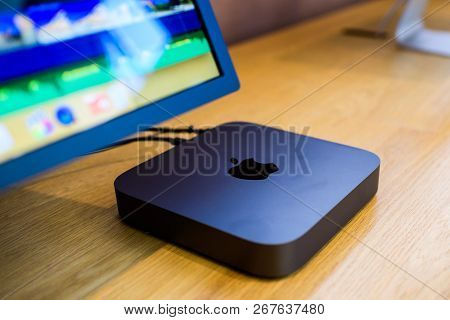 Paris, France - Nov 7, 2018: Side View Of The New Space Gray Apple Mac Mini Computer With The New Pr