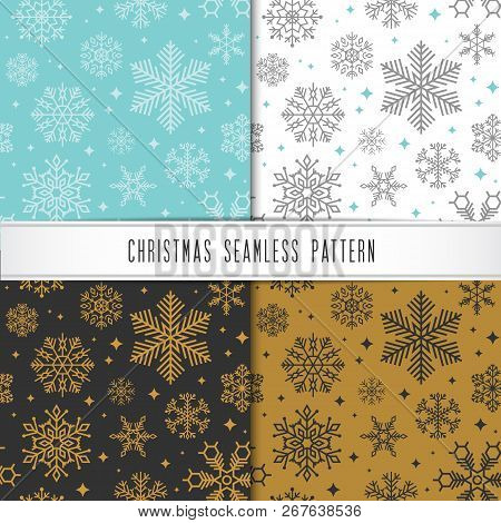 Christmas And Happy New Year Pattern Set. Winter Holiday Pattern With Christmas Ornament.