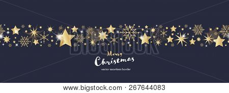 Christmas Time. Dark Blue And Golden Snowflake And Star Seamless Border. Text : Merry Christmas