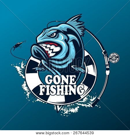 Marlin Fish Logo.sword Fishing Emblem For Sport Club. Angry Fish Background Theme Vector Illustratio