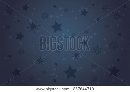 Christmas Time. Background Landscape With Snowflakes And Stars.