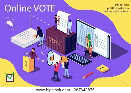 Isometric Illustration Concept. Group Of People Give Online Vote And Putting Papper Vote In To The V