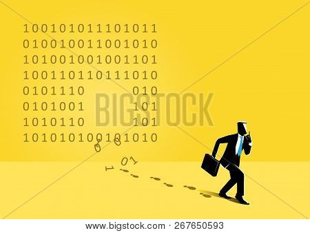 An Illustration Of Businessman Sneaking Out And Steal Binary Code