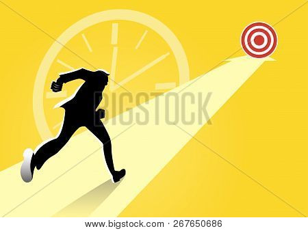 An illustration of businessman running towards at arrows directions to the target mark. Concept business vector illustration. poster