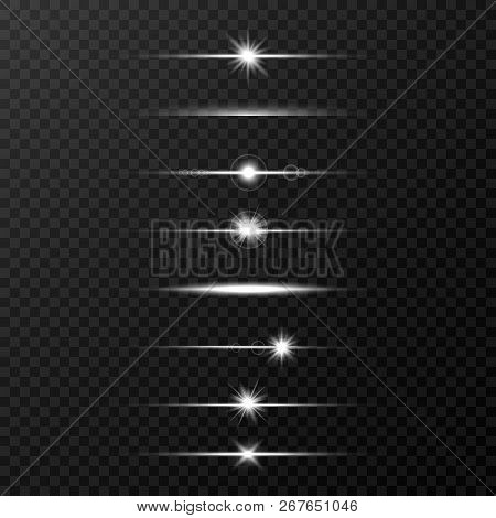 Shine Beams. Glowing Line Set On Transparent Background. Realistic Lens Flare Set. Flash With Rays A