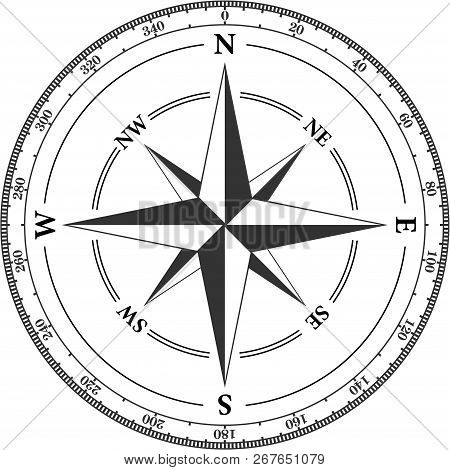 Vintage Compass Navigation Dial On White Background. With Directions North, North-west, North-east,